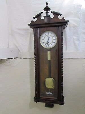 Antique Vienna Regulator Wall Clock Back Of Face Signed & Dated For Repair