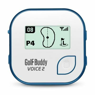 Golf Buddy Voice 2 Talking GPS Range Finder Rechargable Watch Clip-On White/Blue