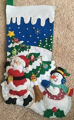 Finished Completed Bucilla Felt Stocking Pick A tree