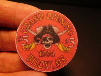 1994 $5 chip from the grand opening TREASURE BAY CASINO in BILOXI, MISSISSIPPI