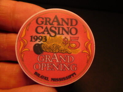 1993 $5 chip from the grand opening GRAND CASINO in BILOXI, MISSISSIPPI