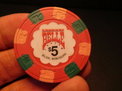 Rare $5 chip from the BILOXI BELLE CASINO - BILOXI, MISSISSIPPI