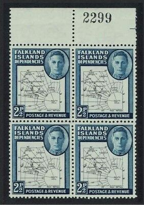 Falkland Is. Dep. Map 2½d 1v Block of 4 Top Margin with Control Number SG#G11a