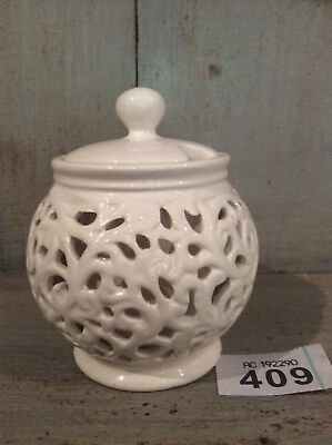 CREAM WARE POTTERY PIERCED Condiment Pot With Lid