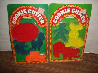 2 VINTAGE COOKIE CUTTER SETS Plastic Lone Toy Tree Inc. NEW & SEALED