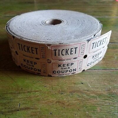 Roll Of Vintage Indiana Ticket Carnival Fair Ride Tickets Amusements Raffle Win