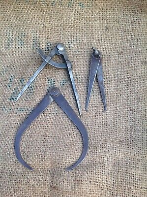Three Sets Of VINTAGE WORKING DIVIDERS CALIPERS BRITISH MADE VGC