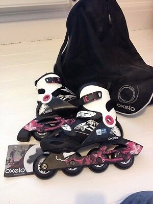 Girls Inline Skates Roller Blades Black Pink White Size 34-36 EUR + Carry Bag