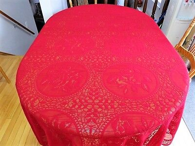 """Vintage Lace Tablecloth  - Burgundy -  89"""" By 60"""""""