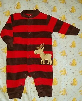 ☆ Cute red & brown stripped Pajama ☆ Elk Motive ☆ Child of mine ☆size 0-3 months