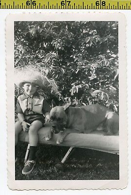 Vintage 1950's DOG photo / Disoriented BOXER with Boy Wearing Silly Straw Hat
