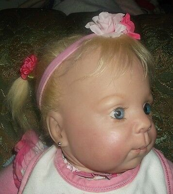 BIG Beautiful Reborn Baby Girl Doll, rooted mohair, pierced ears, made in USA