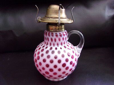 Antique Cranberry OPALESCENT Coin Dot FINGER HOLD Glass OIL LAMP, Fenton Glass