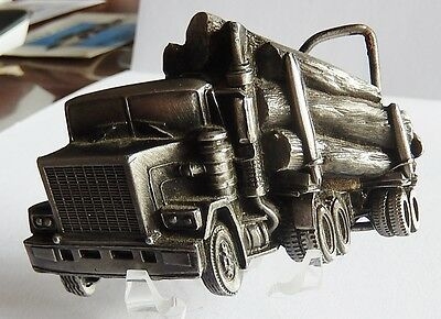 Vintage Cut Out Logging Truck Pewter-Tone Stamped # 6293