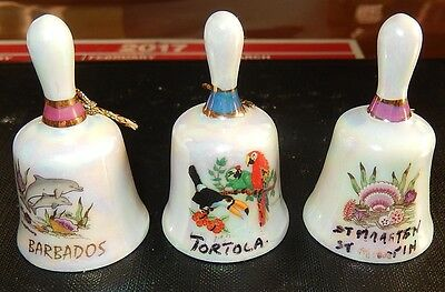Three Minature Bells Hand Painted From The Islands Of Tortola, Barbados,St Marte