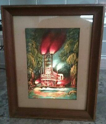 "RARE 1953 Econolite ""ON THE BAYOU"" Picture Motion Lamp Steamboat Riverboat"