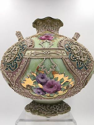 Nice Moriage 2-Handled Vase with Intricate Design and Hand Painted Flowers