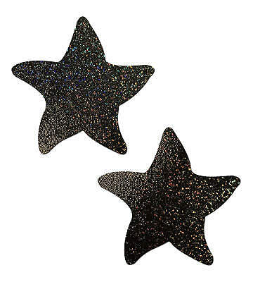 Starfish: Twinkling Black Sea Star Nipple Pasties by Pasties by Pastease o/s