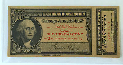 1932 REPUBLICAN NATIONAL CONVENTION PRESIDENT HOOVER GUEST TICKET w/STUB V. FINE