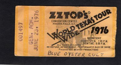 1976 ZZ Top BOC Concert Ticket Stub Niagara Falls World Wide Texas Tour Tejas