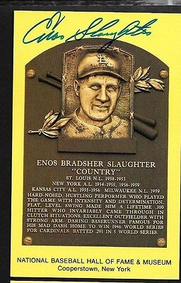 Enos Slaughter Cardinals Yankees Hof Yellow Plaque Autograph Signed