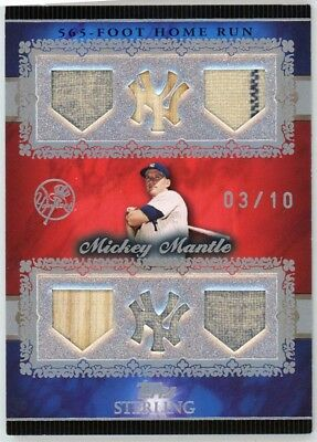 "2007 Topps Sterling, Mickey Mantle 6 piece g/u memor ""565 foot home run"" #03/10"