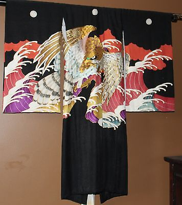 Antique Boys Japanese Silk Kimono Eagle