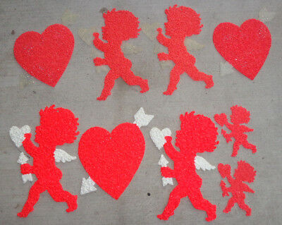 Vintage Lot 9 VALENTINE Melted PLASTIC POPCORN CUPIDS & HEARTS Decorations