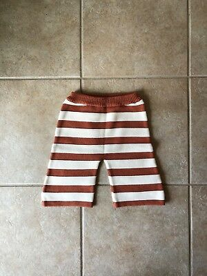Misha & Puff knit striped pants 3-4 yrs brown and white