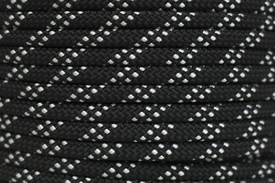 Polyester Double Braided Rope 8mm x 100m, Black/White Fleck