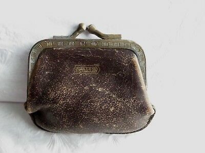 SMALL ANTIQUE EARLY 1900s CALF LEATHER CHANGE COIN PURSE