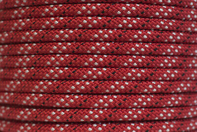 Polyester Double Braided Rope 8mm x 100m, Red/White Fleck