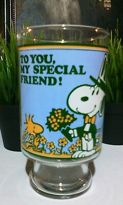 """Peanuts Collectible Glass 7"""" Tall Snoopy Woodstock """"To You My Special Friend"""""""