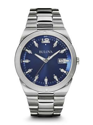 Brand New Bulova Classic Blue Dial Silver Stainless Strap Mens Watch :96B220