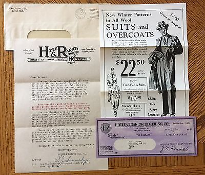1928 Consumer Credit Offer Advertisement For Hoyle & Rarick Clothing Co. Detroit