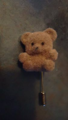brown teddy bear lapel pin fuzzy