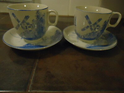 occupied japan cup saucer windmill boat blue & white Rare Stamp