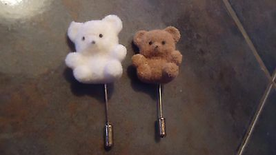 teddy bear lapel pin fuzzy lot