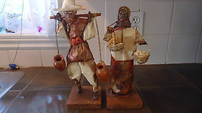 Paper Mache Doll Figurines Hispanic Farmer  Man & Woman