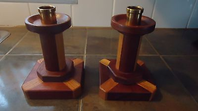 VINTAGE  INLAY Wood Candle Holders 6.5""
