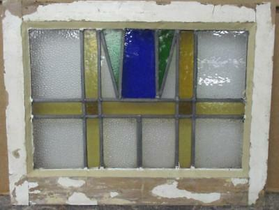 """OLD ENGLISH LEADED STAINED GLASS WINDOW Stunning Abstract Geo 20.25"""" x 15.5"""""""