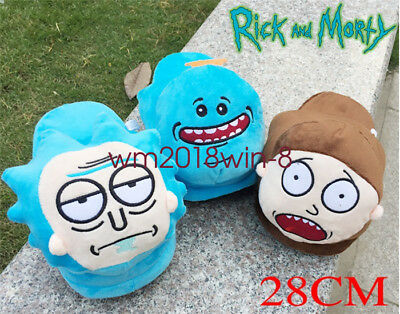 28cm Rick and Morty Mr. Meeseeks Cartoon Plush Slippers Soft Winter Home Shoes