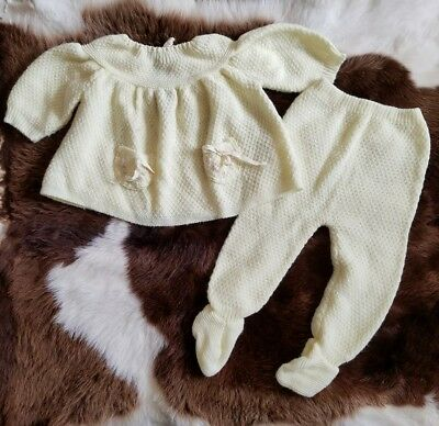 Antique Baby Outfit sweater pants light yellow ITALY knit True VTG infant /IA