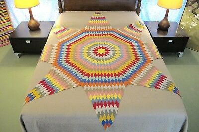 "Graphic Vintage GRAPHIC All Cotton Hand Sewn UNFINISHED Quilt TOP 82"" Tip To Tip"