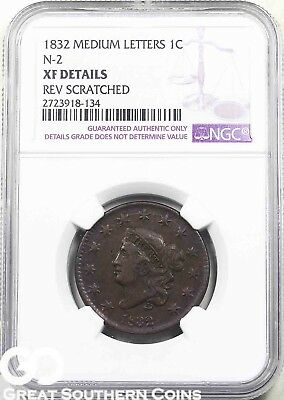 1832 NGC Large Cent, Coronet Head, Medium Letters, NGC XF Details