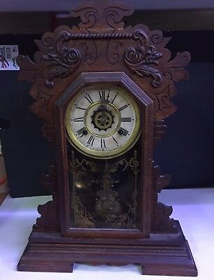 Antique Waterbury Clock Co. Mantle Clock w/ Waterbury Movement Late 1800's Runs
