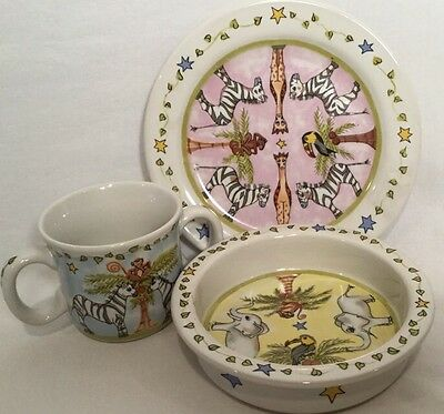 3 Piece Set Plate Bowl Mug Mes Amis by Artist Heather Outlaw for Essex Kids