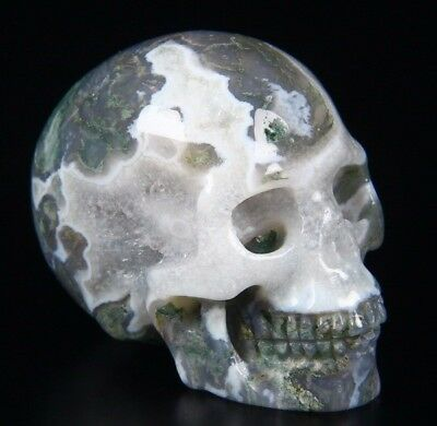 "2.1"" GREEN MOSS AGATE Carved Crystal Skull, Realistic, Crystal Healing"