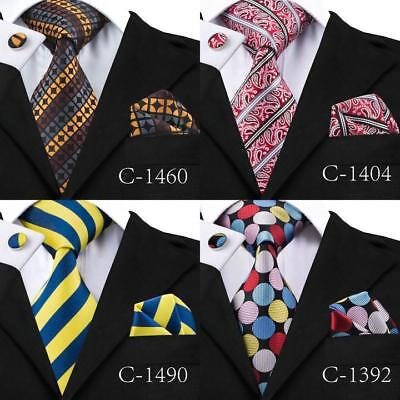 Mens Ties Silk Necktie Bue Red Black Paisley Stripe Tie Hanky  Set Wedding Party