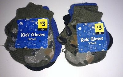 Lot Of 6 Toddler Boys Mittens Nwt Camo/football